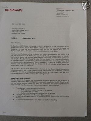 Nissan Dealer Letter , and 2009 Nissan GT-R on ebay - planned sales 1500 units per year