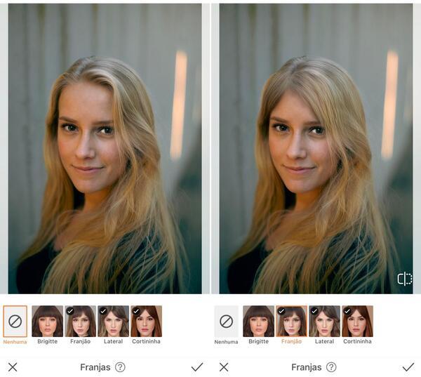 mulher sendo editada pelo AirBrush com a ferramenta Cabelo