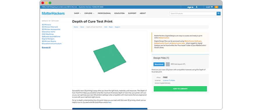 The Depth of Cure Test print helps making dialing in settings easier.