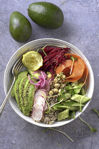 Avocado and cauli-rice bowl; a happy box is the office equivalent of a trendy 'bowl'.