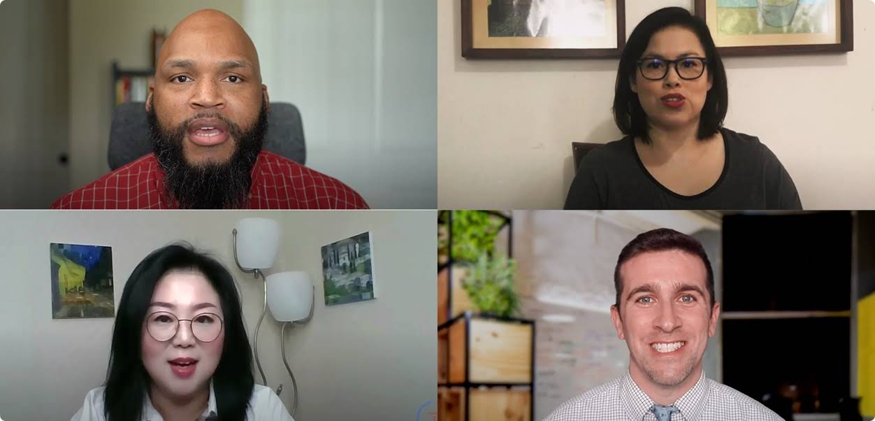 Image of an online meeting taking place with four participants including two men and two women in their home offices.