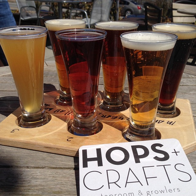 The flight of six beers is a great way to go at Hops & Crafts.