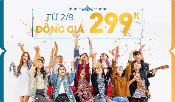 Vietnam Airlines đồng giá 299k vé máy bay tất cả các chặng bay nội địa