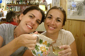 Photo: Teresa and Katie at dinner in Venice, Italy.  We were charged $10 US for a beer here...so that pitcher you see in the photo went home with us...along with a glass rooster they had.  Don't mess with Americans.