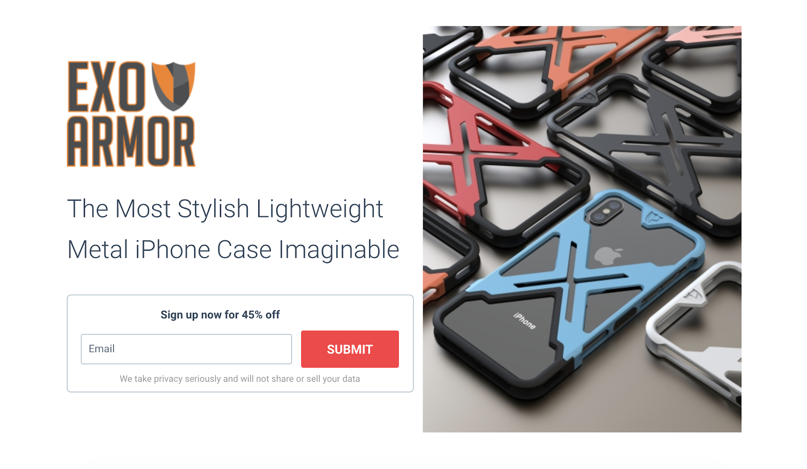 exoamor creather a landing page for crowdfunding that had the information on top