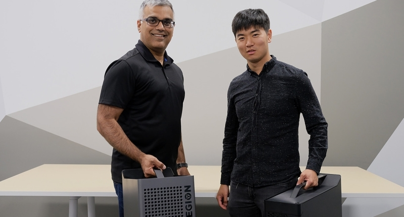 Lenovo spokesperson: Dilip Bhatia, Vice-President of Global Marketing, User and Customer Experience, Ray Chen, hardware UX specialist for gaming + VR at Lenovo.