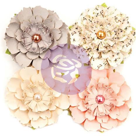 Prima Spring Farmhouse Mulberry Paper Flowers 4/Pkg - Heart & Home UTGÅENDE