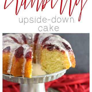 Cranberry Upside-Down Cake with Vanilla Sugar Drizzle.