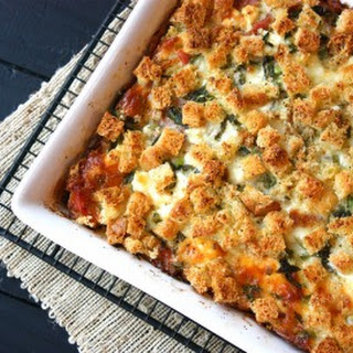 Overnight Prosciutto & Goat Cheese Egg Bake