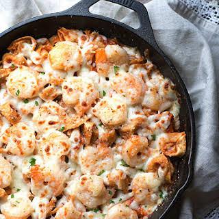 Easy Italian Shrimp Tortellini Bake.