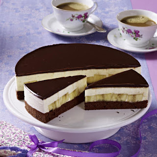 Chocolate Cake with Bananas and Crème Fraîche Mousse.