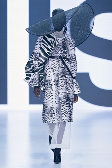 Anyon Marial walks the runway for Rich Mnisi's show at SA Fashion Week 2018.