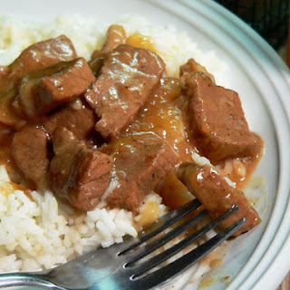 Beef Tips with Rice and Gravy.
