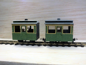 Photo: 009 Bonus item 2. A couple more of Chris Krupa's superb coaches. This splendid pair started off as Colin Ashby single door closed coach kits, but you would have to look hard to spot this. Chris informed me that the windows have been enlarged and the distinctive clerestory roofs were formed from plastic card, N gauge fence parts for the sides and the kit's vacuum cylinder for the lamp top .