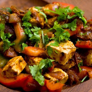 Kadhai Paneer (Stir Fried Cheese and Peppers).