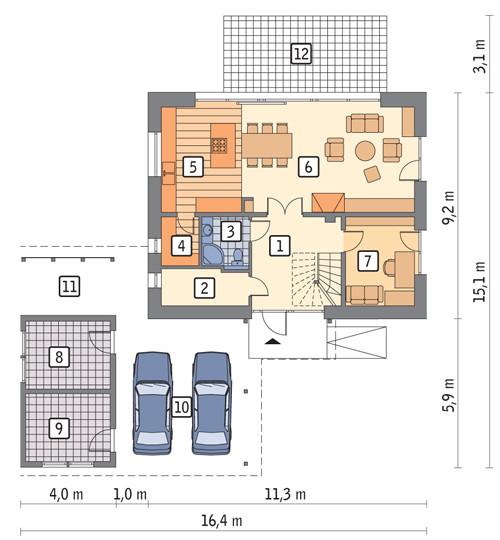 Rzut projektu domu pasywnego