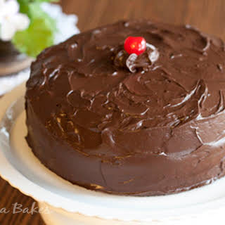 Old-Fashioned Chocolate Cake with Maraschino Cherry Filling.