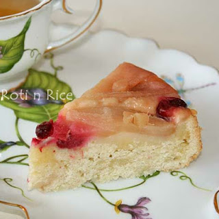 Gluten-Free Gingered Pear and Cranberry Upside Down Cake