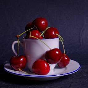 Cup and Cherries by Joseph Muller - Food & Drink Fruits & Vegetables ( cherry, fruit, red, season, summer,  )