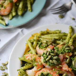 Pepita Pesto-Coated Pasta with Shrimp