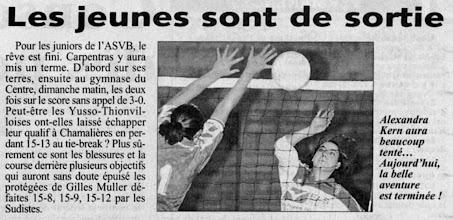Photo: 29-04-97 Les juniors filles -20 éliminées après un beau parcours en championnat de France