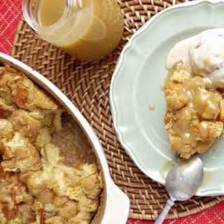 Brown Sugar Bread Pudding With Caramel Sauce.