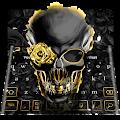 Golden Luxury Rose Skull Keyboard Theme