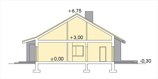 Małgosia wersja A bez garażu, parterowa, z wykuszem - Przekrój