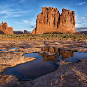 Desert Reflections by Phyllis Plotkin - Landscapes Caves & Formations ( desert, rock formations, arches national park, reflections, sunrise )