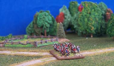 Photo: La fanteria leggera inglese presidia la strada per Montreal.Miniature Baccus, materiale scenico autocostruito.