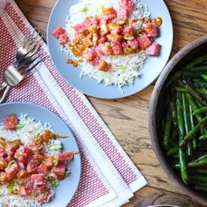 Watermelon Poke + Blistered Green Beans with Teriyaki Sesame Glaze