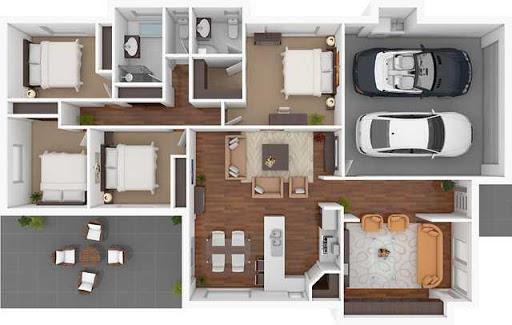 3D家庭平面图设计