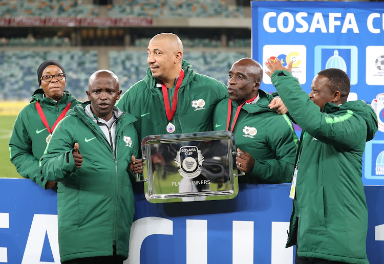 SA Under-23 coach David Notoane celebrates with technical team after winning the Cosafa Cup plate final in June 2019 in Durban.