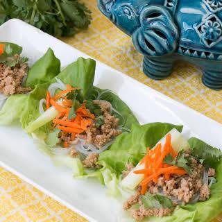 Asian Chicken & Rice Noodle Lettuce Wraps.
