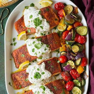 Moroccan Spiced Salmon with Lemon Yogurt Sauce.