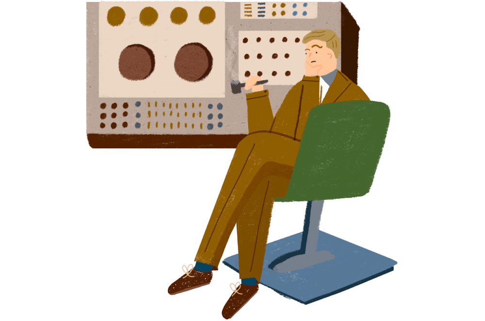 Alan Turing sits beside an enormous, old-fashioned computer, stroking his chin, presumably deep in thought about the nature of human thinking.
