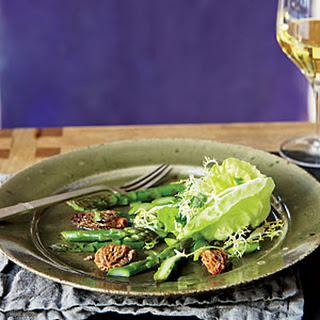 Morel-and-Asparagus Salad with Frisée and Butter Lettuce.