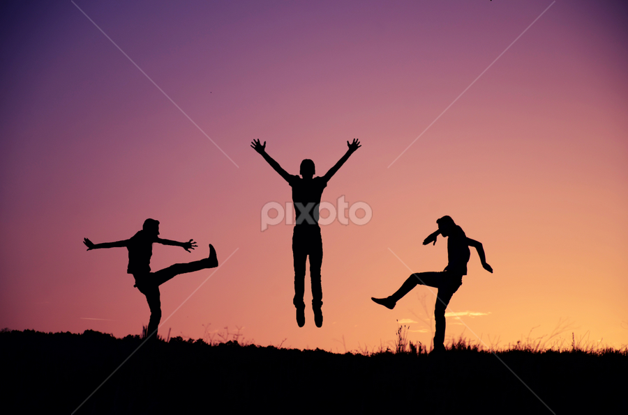 by Adrian  Limani - People Fine Art ( silhouette, night, people, man, jump )