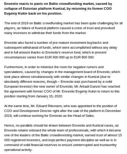 Envestio press release