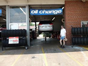 Photo: A screw sticks to one of our tyres. Car repair near Lake Mary (Orlando, Florida).