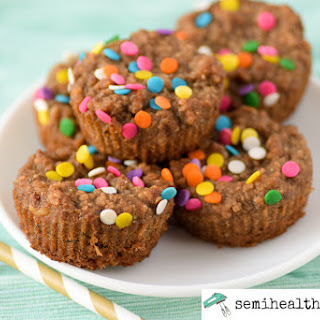 Semi Healthy Banana Super Oat Muffins.