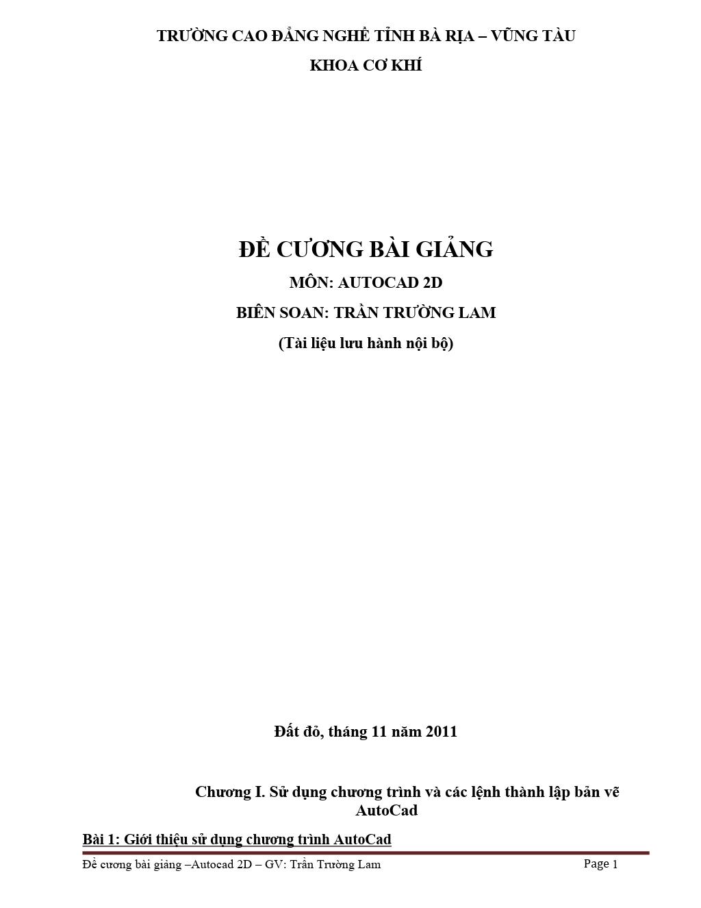 Đề cương bài giảng Autocad 2D - Trần Trường Lam