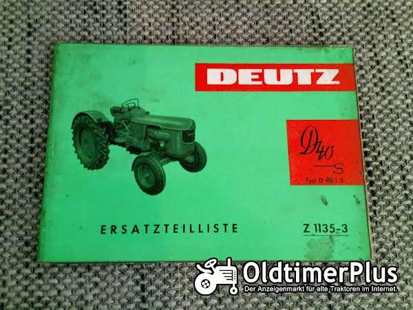 Deutz D40 S Typ D40.1 S Ersatzteilliste Z 1135-3 Foto 1