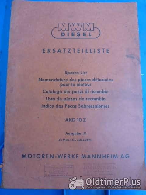 Ersatzteilliste MWM Diesel AKD 10Z Ausgabe IV ab Motor 300.3.06971 Foto 1