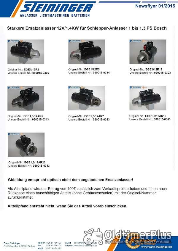 Verschiedene Stärkere Ersatzanlasser 12V/1,4KW für Schlepper-Anlasser 1 bis 1,3 PS Bosch Foto 1