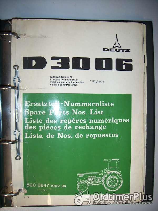 D 15.1 - D 8006 Ersatzteil-Nummernliste für Deutz-Schlepper   Foto 1