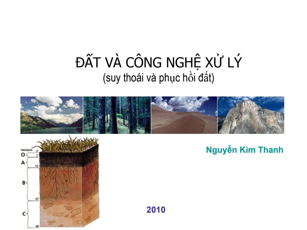 Đất và công nghệ xử lý - Suy thoái và phục hồi đất