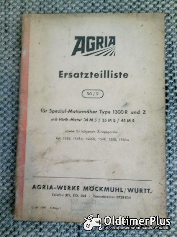 Agria 1300 R und Z Motormäher Ersatzteilliste Foto 1