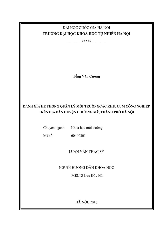 Luận văn Thạc sĩ Khoa học: Đánh giá hệ thống quản lý môi trường các khu, cụm công nghiệp trên địa bàn huyện Chương Mỹ, thành phố Hà Nội