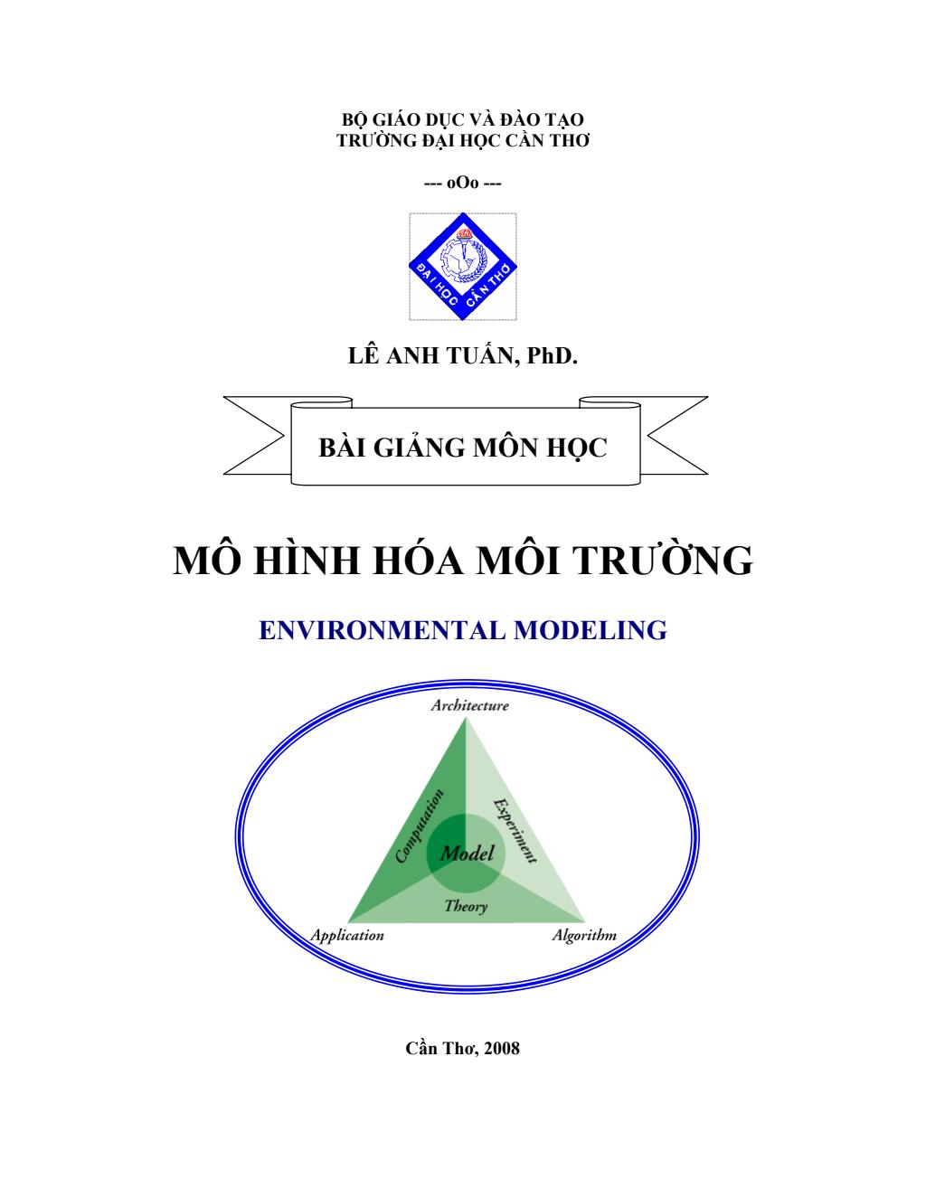 Bài giảng Mô Hình Hóa Môi Trường – PhD.Lê Anh Tuấn